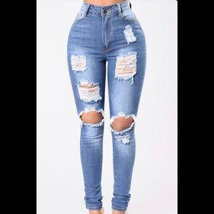 Fashion nova say yes to distress jeans